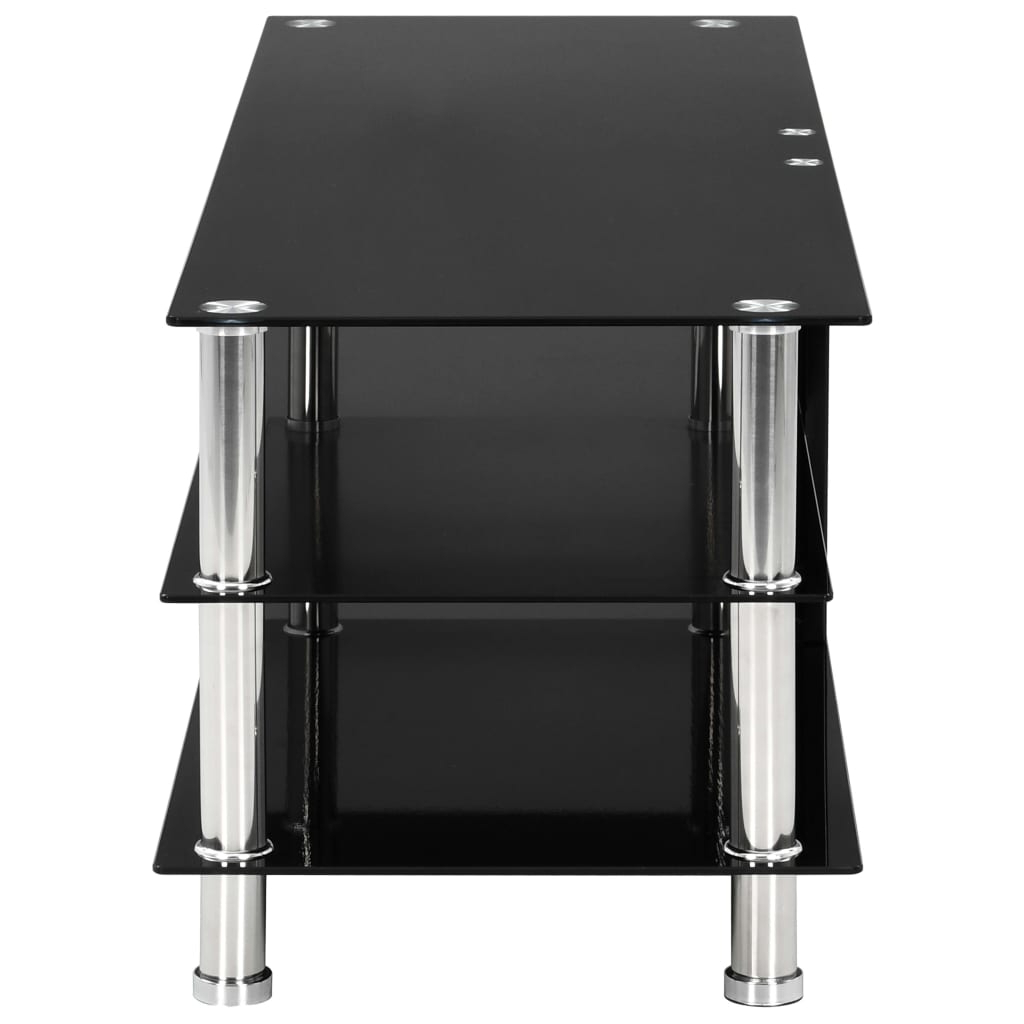 Tier Entertainment Tv Stands In Black In 2017 Tv Stand Black Modern Tempered Glass 2/3/4 Tier Wide With (View 7 of 10)