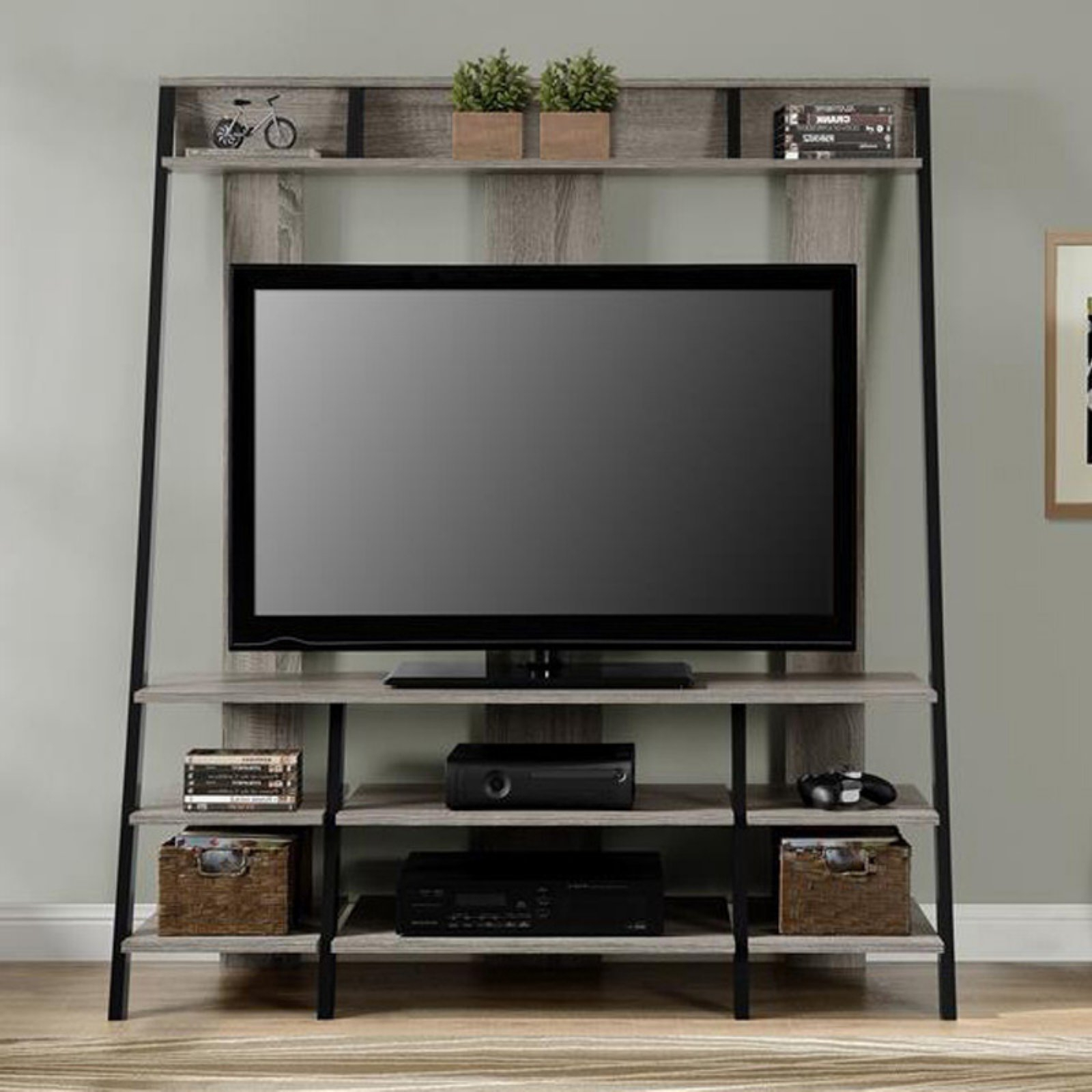 Tiva Oak Ladder Tv Stands With Latest Ameriwood Home Dunnington Ladder Style Home Entertainment (View 5 of 10)