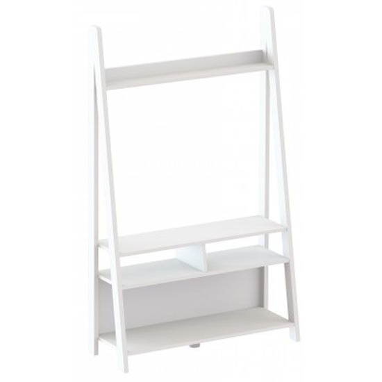 Tiva White Ladder Tv Stands Pertaining To Best And Newest Paltrow Entertainment Unit In White With Ladder Style (View 3 of 10)