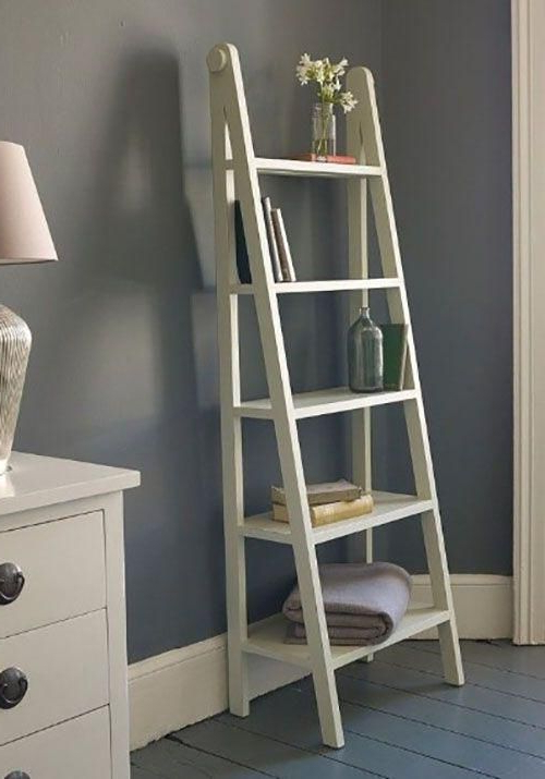 Tiva White Ladder Tv Stands Regarding Best And Newest : 50 Ladder Shelf Image Ideas – White Leaning Ladder (View 6 of 10)