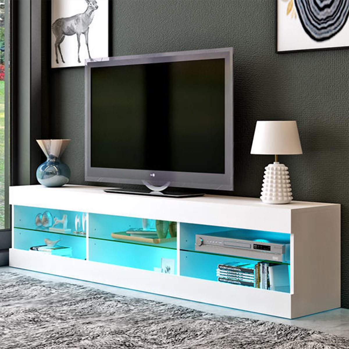 """Totally Tv Stands For Tvs Up To 65"""" In Newest 57'' Tv Stands W/led Lights For Tvs Up To 65"""", Multiple (View 9 of 25)"""