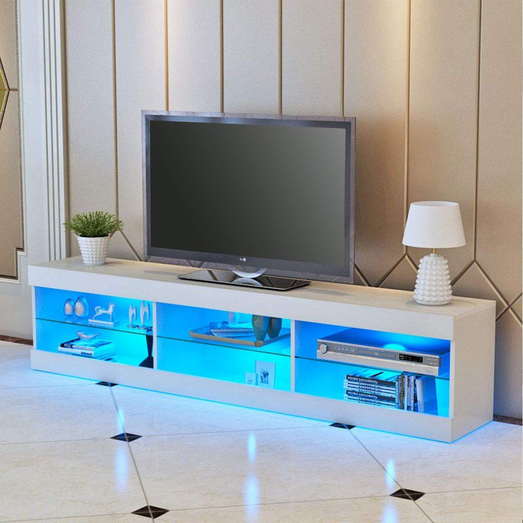 Trendy 57'' Led Light High Gloss Tv Unit Cabinet Stand White For Milano White Tv Stands With Led Lights (View 24 of 25)