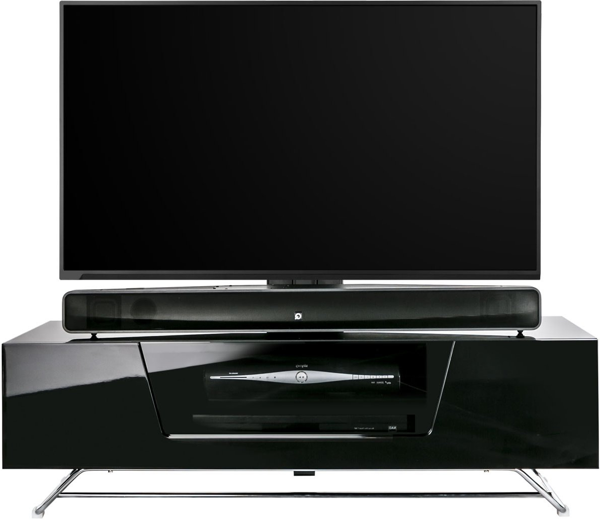 Trendy Alphason Chromium 1200 Black Cantilever Tv Stand For Up To Inside Chromium Tv Stands (View 22 of 25)