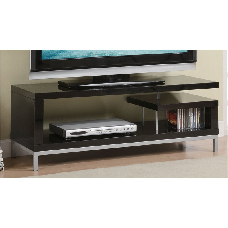 Trendy Bromley Black Wide Tv Stands Within Zig Zag 45 Inch Wide Tv Stand In Glossy Black Finish (View 3 of 10)