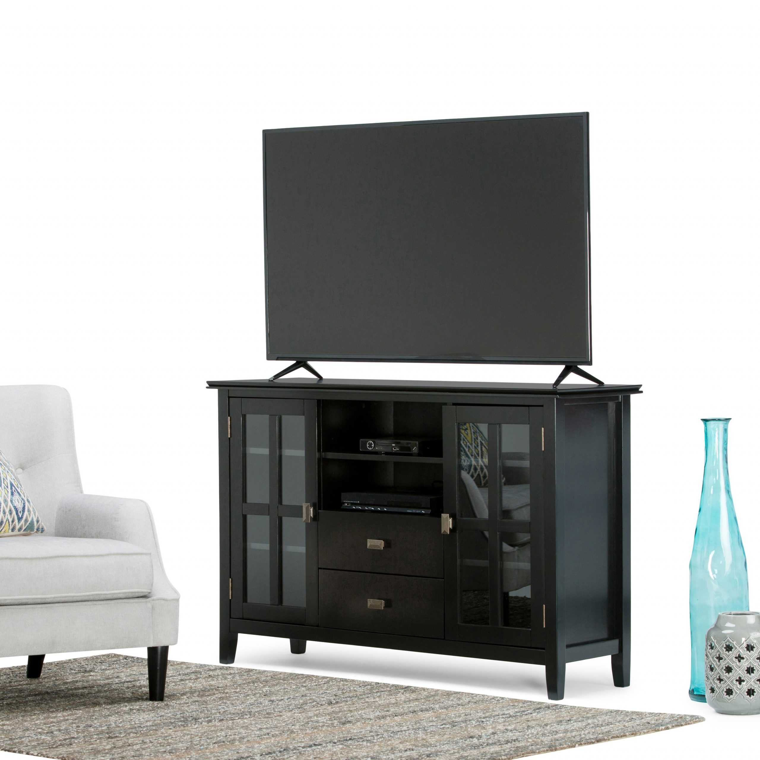 Trendy Bromley Extra Wide Oak Tv Stands With Regard To Wyndenhall Stratford Solid Wood 53 Inch Wide Contemporary (View 17 of 25)
