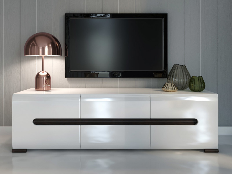 Trendy Carbon Tv Unit Stands With Tv Stand Cabinet Unit In White High Gloss And White Matt (View 9 of 10)
