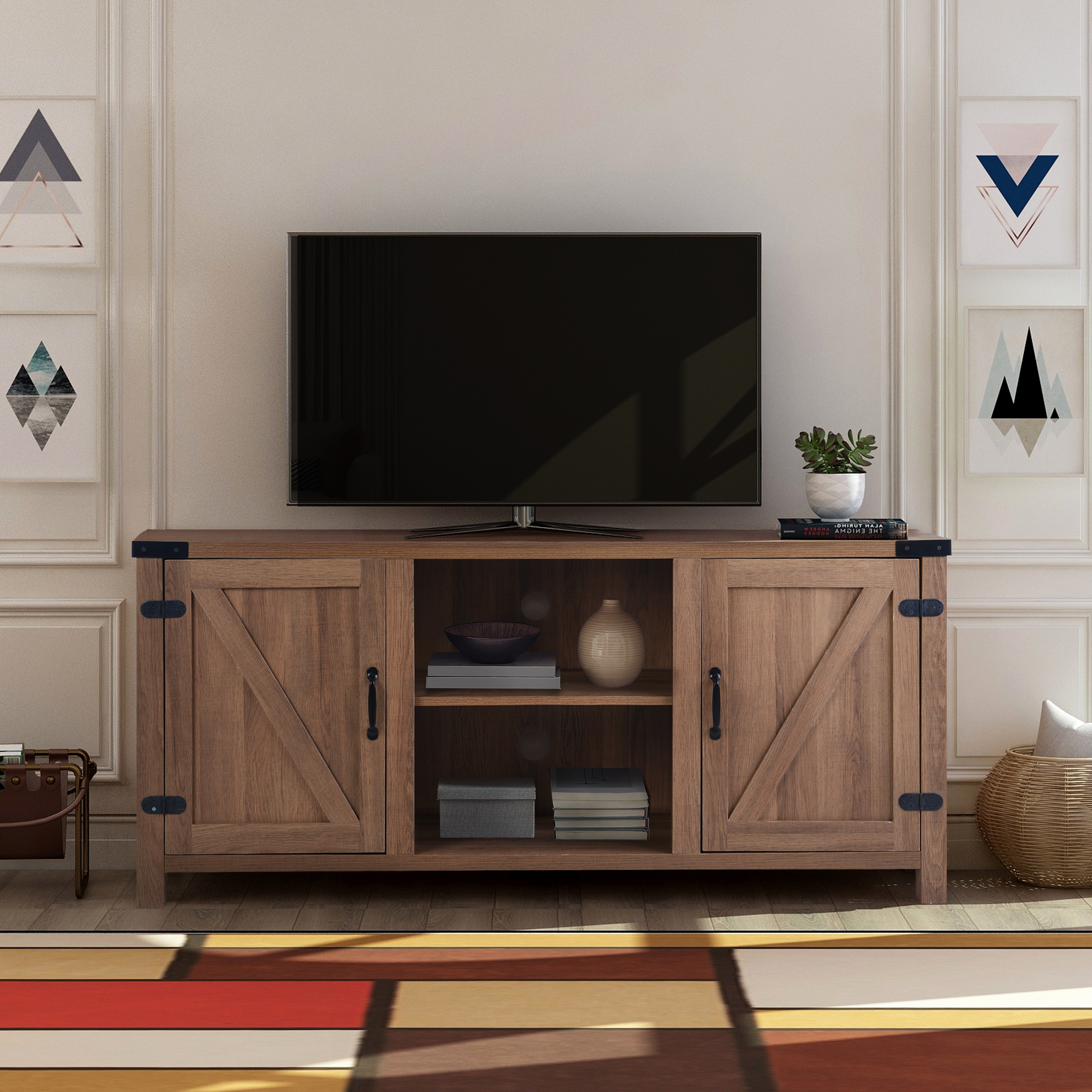 """Trendy Clearance! Modern Tv Stand Cabinet, Farmhouse Tv Stand For Within Karon Tv Stands For Tvs Up To 65"""" (View 1 of 25)"""