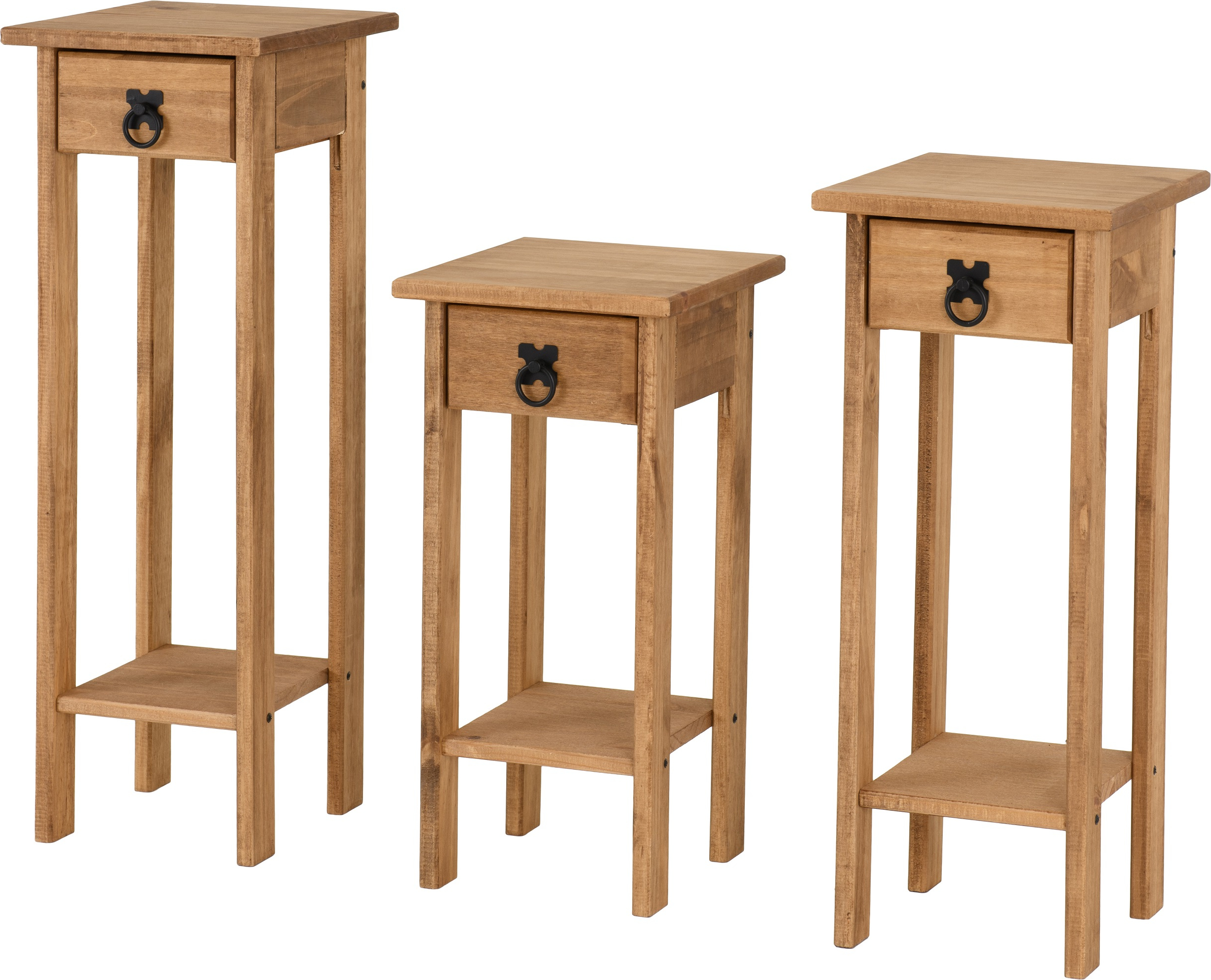 Trendy Corona Plant Stands (set Of 3) In Distressed Waxed Pine In Corona Small Tv Stands (View 10 of 10)