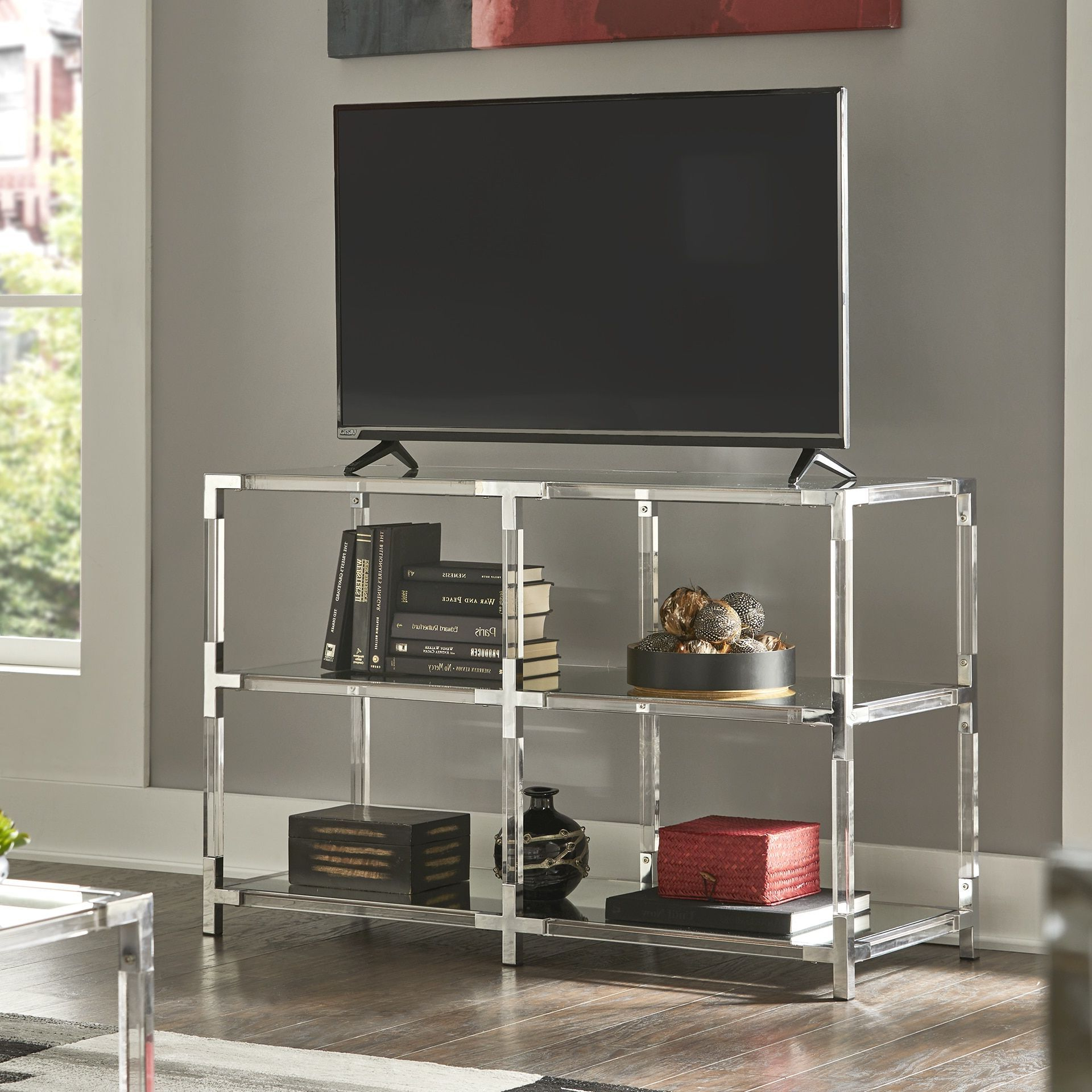 Trendy Cyrus Clear Chrome Corner Mirrored Shelf Sofa Table Tv With Regard To Fitzgerald Mirrored Tv Stands (View 17 of 25)