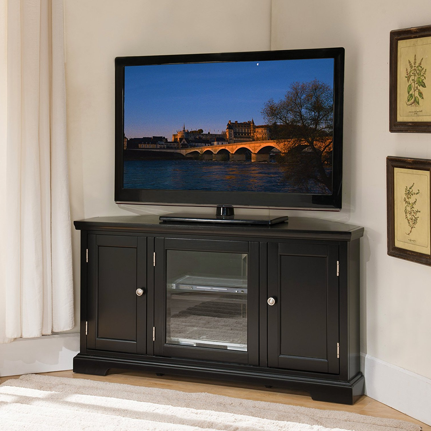 Trendy Edgeware Black Tv Stands Within Leick 46 Inch Hardwood Corner Tv Stand In Black Finish (View 4 of 10)