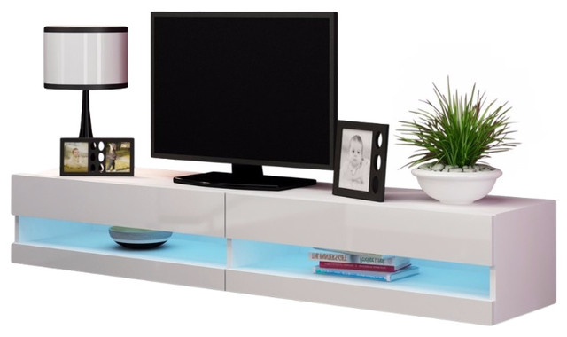 """Trendy Ezlynn Floating Tv Stands For Tvs Up To 75"""" With Regard To Vigo 180 Led Wall Mounted Floating Tv Stands Fits 80"""" Tv (View 8 of 25)"""
