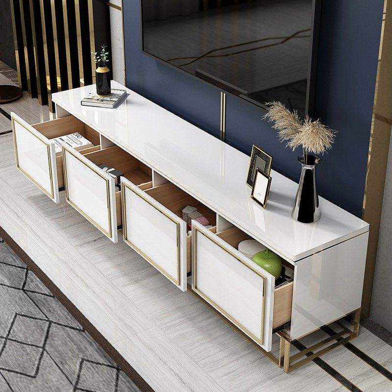 """Trendy Grandstaff Tv Stands For Tvs Up To 78"""" Pertaining To Modern White Tv Stand With Drawer Gold Media Console For (View 21 of 25)"""