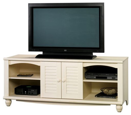 Trendy Harbor Wide Tv Stands With Sauder Harbor View Entertainment Credenza Antiqued White (View 12 of 25)