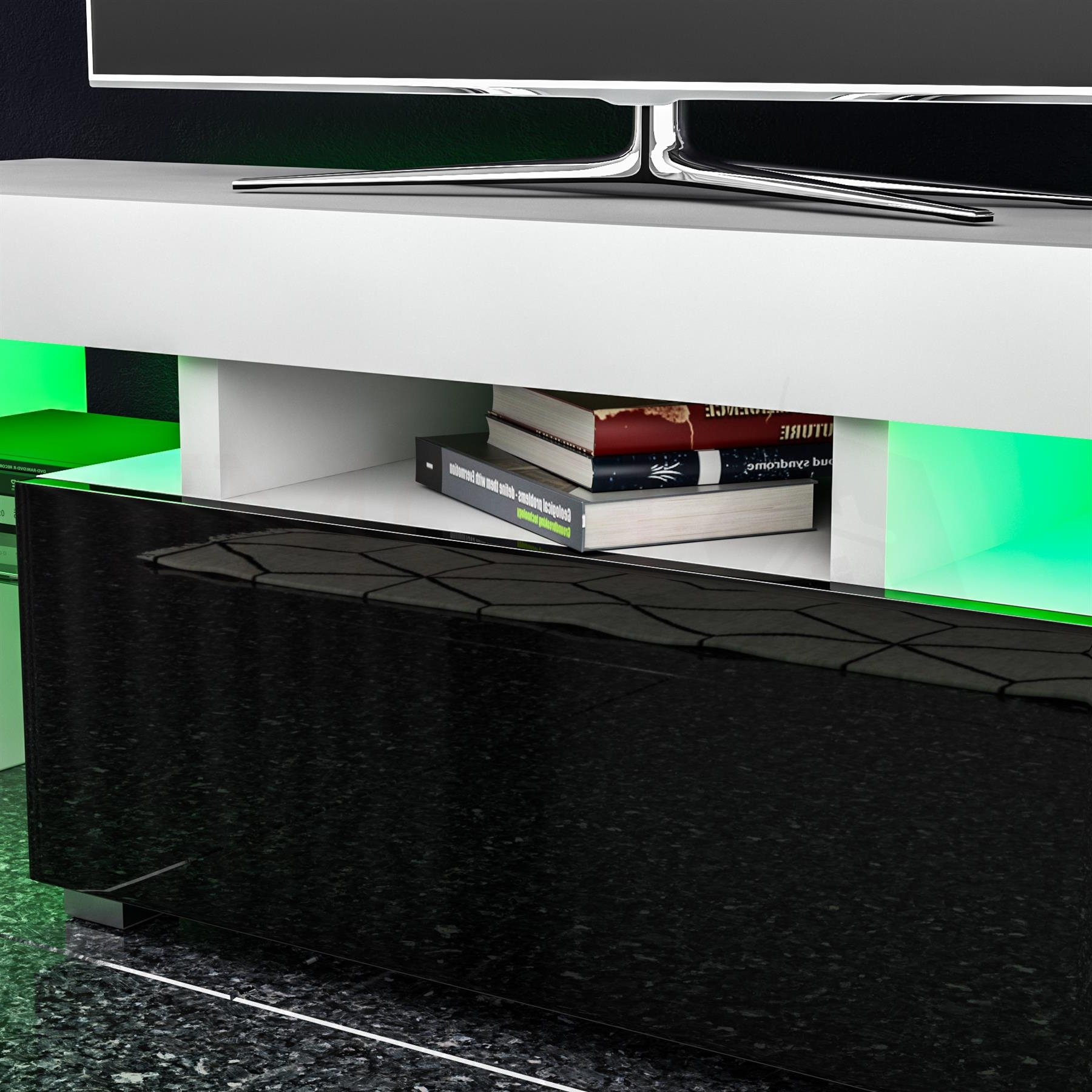 Trendy Luna Led Tv Stand Cabinet Unit 1 Drawer Modern Intended For Zimtown Modern Tv Stands High Gloss Media Console Cabinet With Led Shelf And Drawers (View 5 of 10)