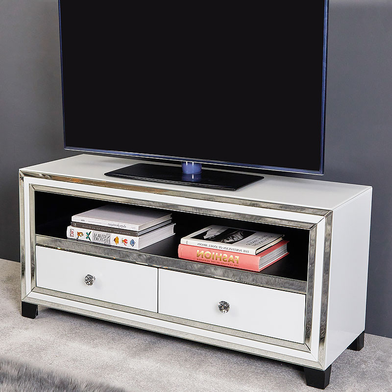 Trendy Madison White Mirrored Glass 120cm 2 Drawer Tv Cabinet Pertaining To Loren Mirrored Wide Tv Unit Stands (View 3 of 10)