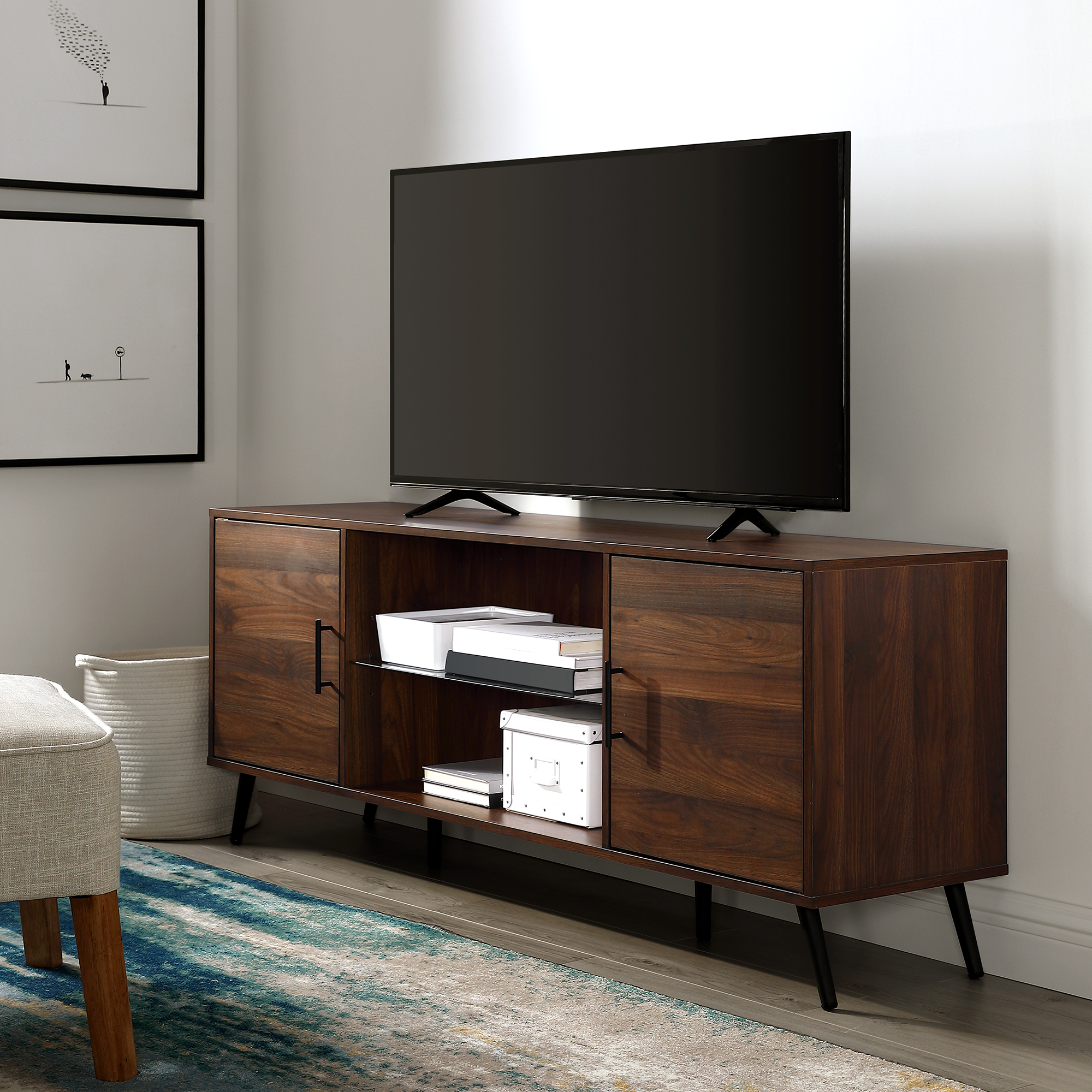 """Trendy Manor Park Mid Century 2 Door Tv Stand For Tvs Up To 65 Pertaining To Totally Tv Stands For Tvs Up To 65"""" (View 2 of 25)"""