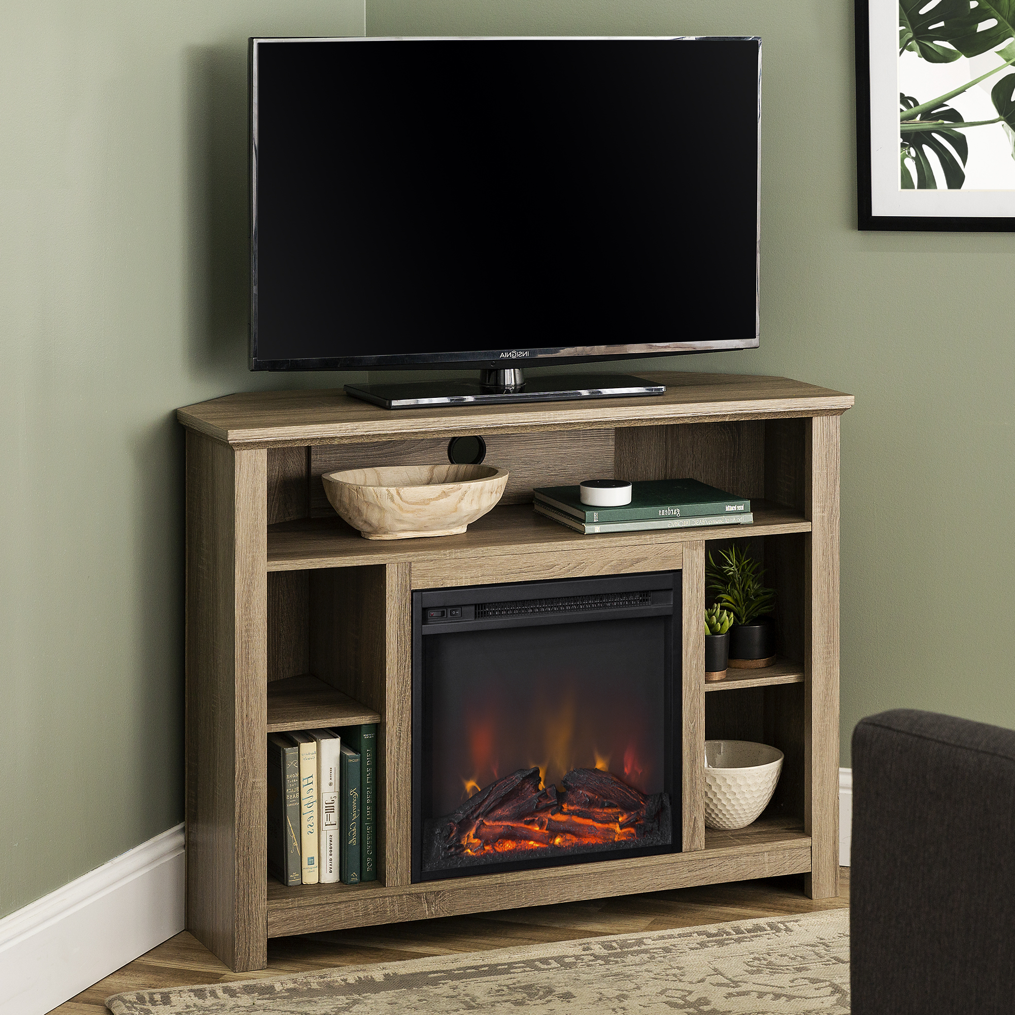 """Trendy Manor Park Tall Corner Fireplace Tv Stand For Tvs Up To 50 Inside Allegra Tv Stands For Tvs Up To 50"""" (View 4 of 25)"""