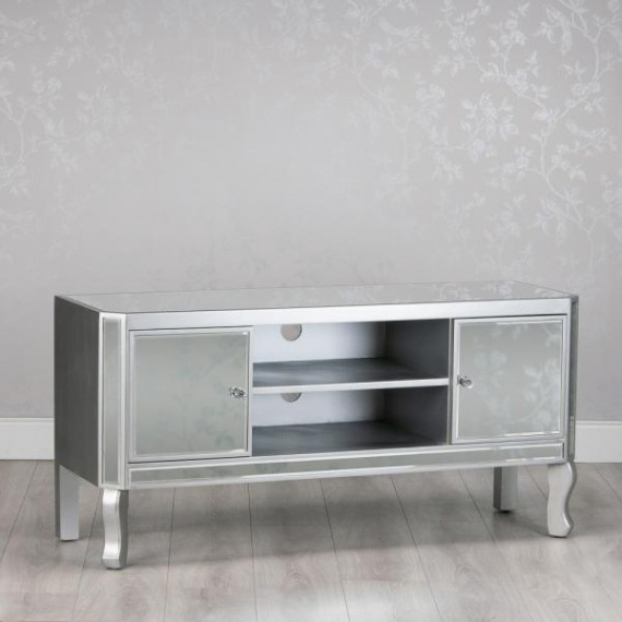 Trendy Mirrored Glass Tv Unit 120 In Loren Mirrored Wide Tv Unit Stands (View 5 of 10)