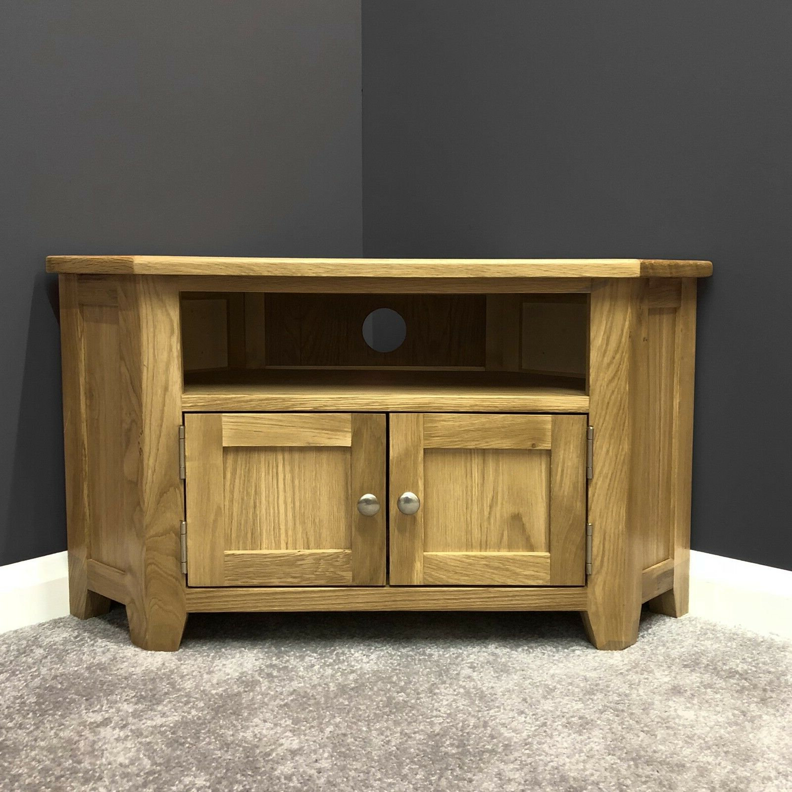 Trendy Oak Corner Tv Stand With Doors / Solid Wood Television In Tribeca Oak Tv Media Stand (View 3 of 10)
