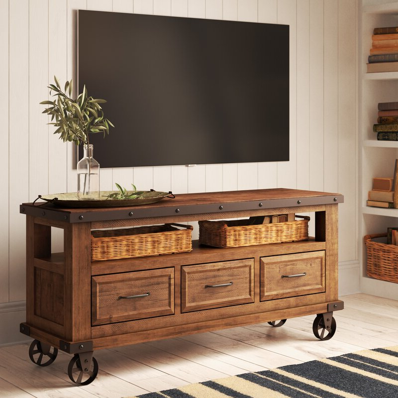 """Trendy Pablo Solid Wood Tv Stand For Tvs Up To 65 Inches & Reviews Regarding Millen Tv Stands For Tvs Up To 60"""" (View 18 of 25)"""