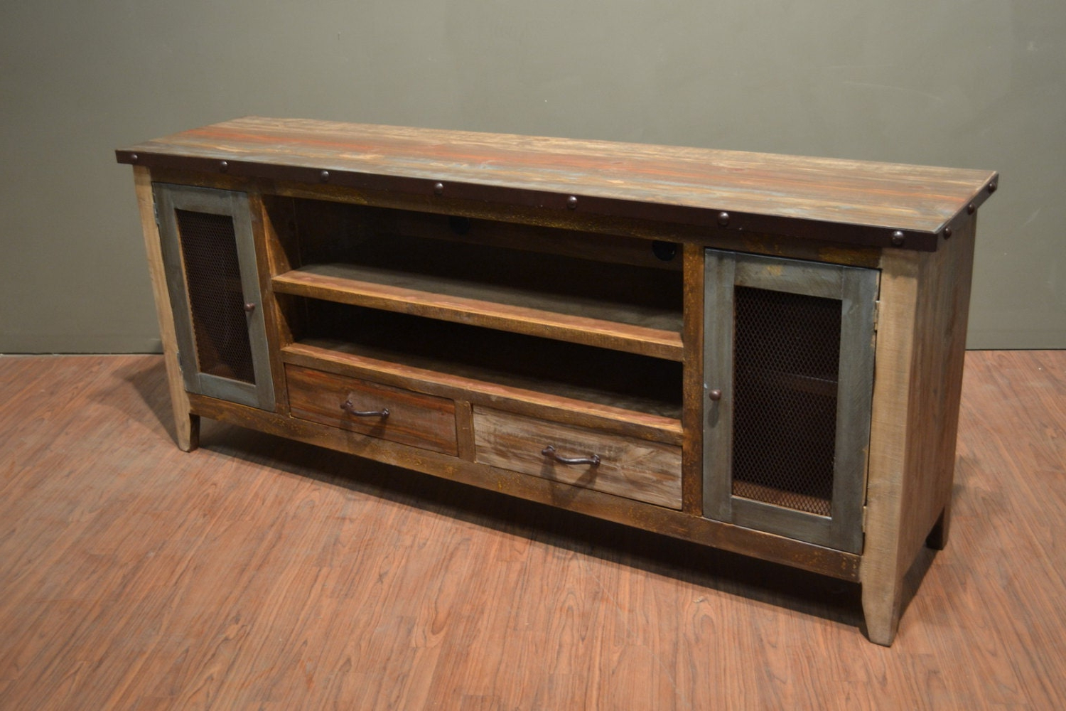 Trendy Rustic Country Tv Stands In Weathered Pine Finish For Industrial Rustic Reclaimed Wood 76 Inch Tv Stand Media (View 2 of 10)