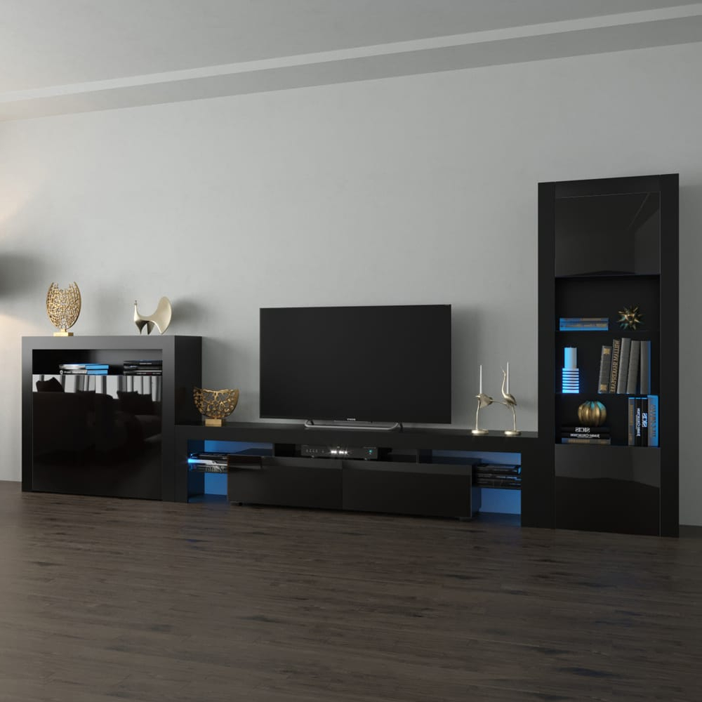 Trendy Solo 200 Modern Led Tv Stands For Milano Set 200 Bk 2d Modern Black Wall Unit Entertainment (View 5 of 10)
