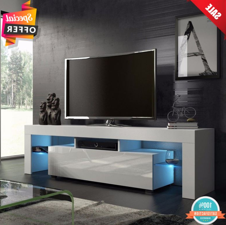 Trendy Tv Stands Cabinet Media Console Shelves 2 Drawers With Led Light In Tv Stand Cabinet Entertainment Center Media Console  (View 3 of 10)