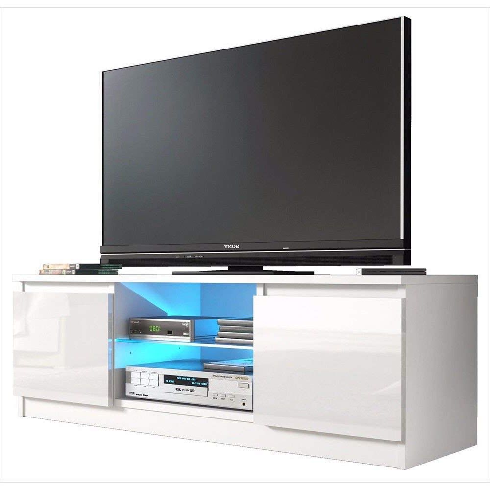 Trendy Tv Stands With 2 Open Shelves 2 Drawers High Gloss Tv Unis For Buy Outad High Gloss Tv Stand With Led Light And 2 Drawers (View 9 of 10)