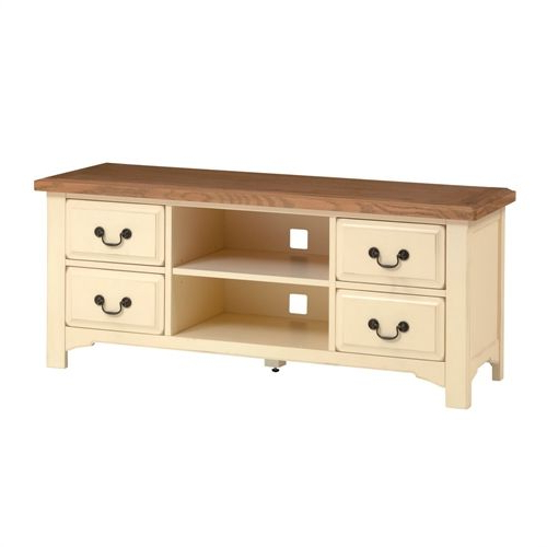 Trendy Westbury Painted Cream Tv Unit With 4 Drawers – Up To 62 Inside Cotswold Cream Tv Stands (View 5 of 10)