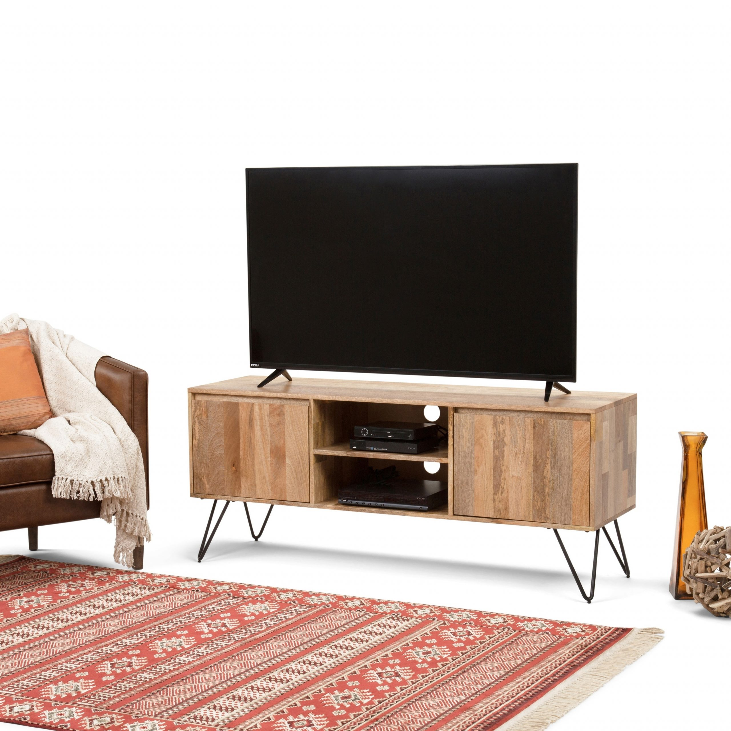 Trendy Wyndenhall Moreno Solid Mango Wood 60 Inch Wide Industrial Pertaining To Greenwich Wide Tv Stands (View 8 of 10)