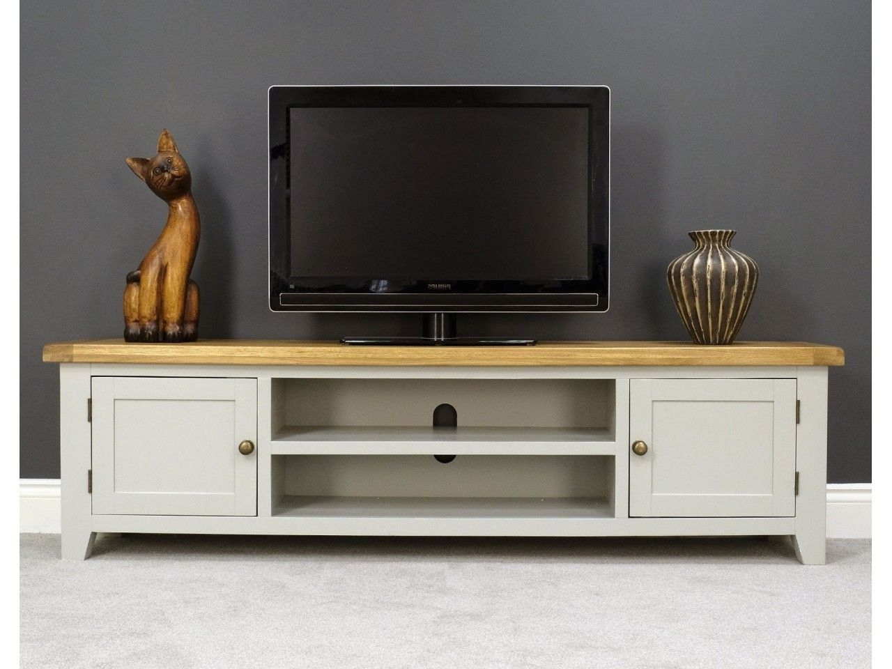 Tv Pertaining To Rustic Grey Tv Stand Media Console Stands For Living Room Bedroom (View 4 of 10)