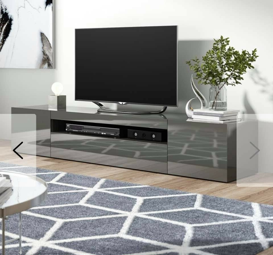 Tv Stand Cabinet Gloss Grey 200cm Wide (View 10 of 25)