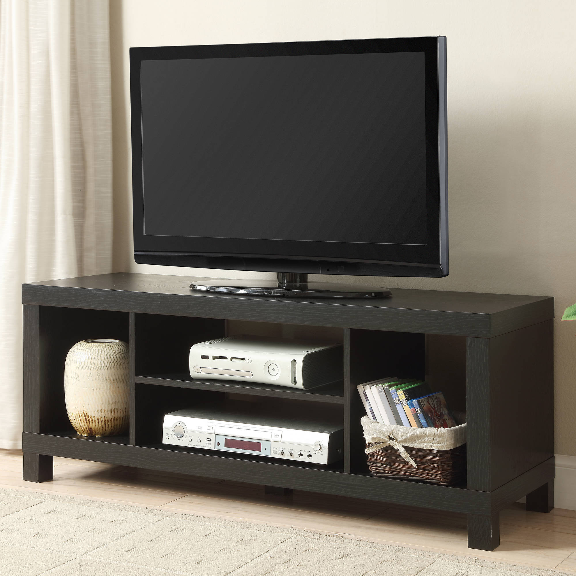 Tv Stand Entertainment Center Home Theater Media Storage In Fashionable Modern Black Tabletop Tv Stands (View 6 of 10)