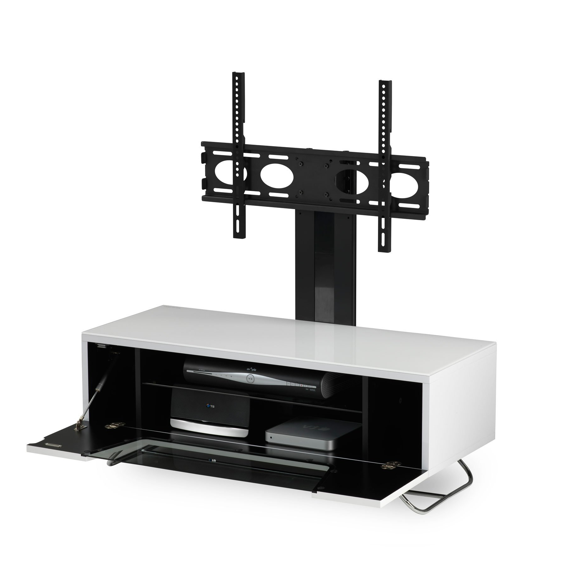 """Tv Stands For Tvs Up To 50"""" With Regard To Most Popular Alphason Chromium 2 100cm White Tv Stand For Up To 50"""" Tvs (View 12 of 25)"""