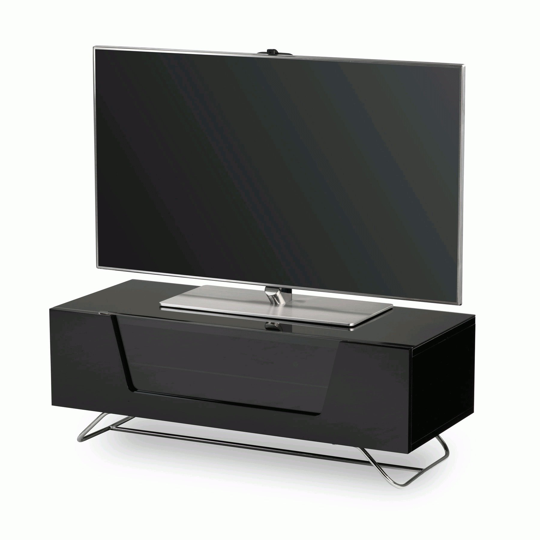 """Tv Stands For Tvs Up To 50"""" Within 2017 Alphason Chromium 2 100cm Black Tv Stand For Up To 50"""" Tvs (View 18 of 25)"""
