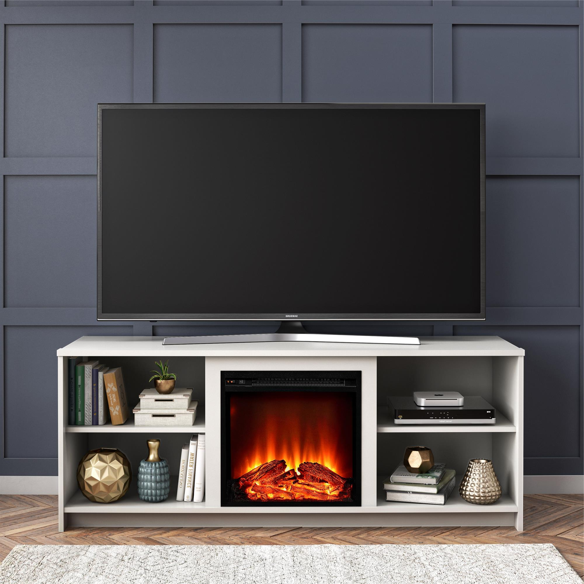 """Tv Stands For Tvs Up To 65"""" Inside Recent Mainstays Fireplace Tv Stand For Tvs Up To 65"""", White (View 1 of 22)"""