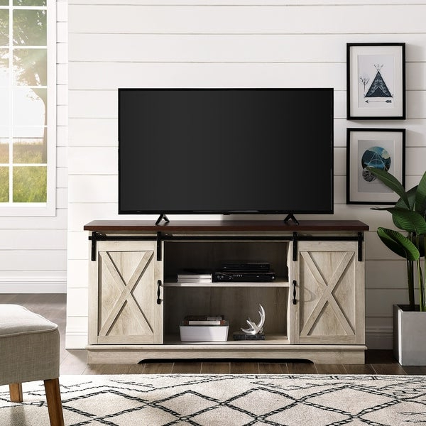 Tv Stands In Rustic Gray Wash Entertainment Center For Living Room With Regard To Most Current Shop The Gray Barn Wind Gap 58 Inch Sliding Barn Door Tv (View 9 of 10)