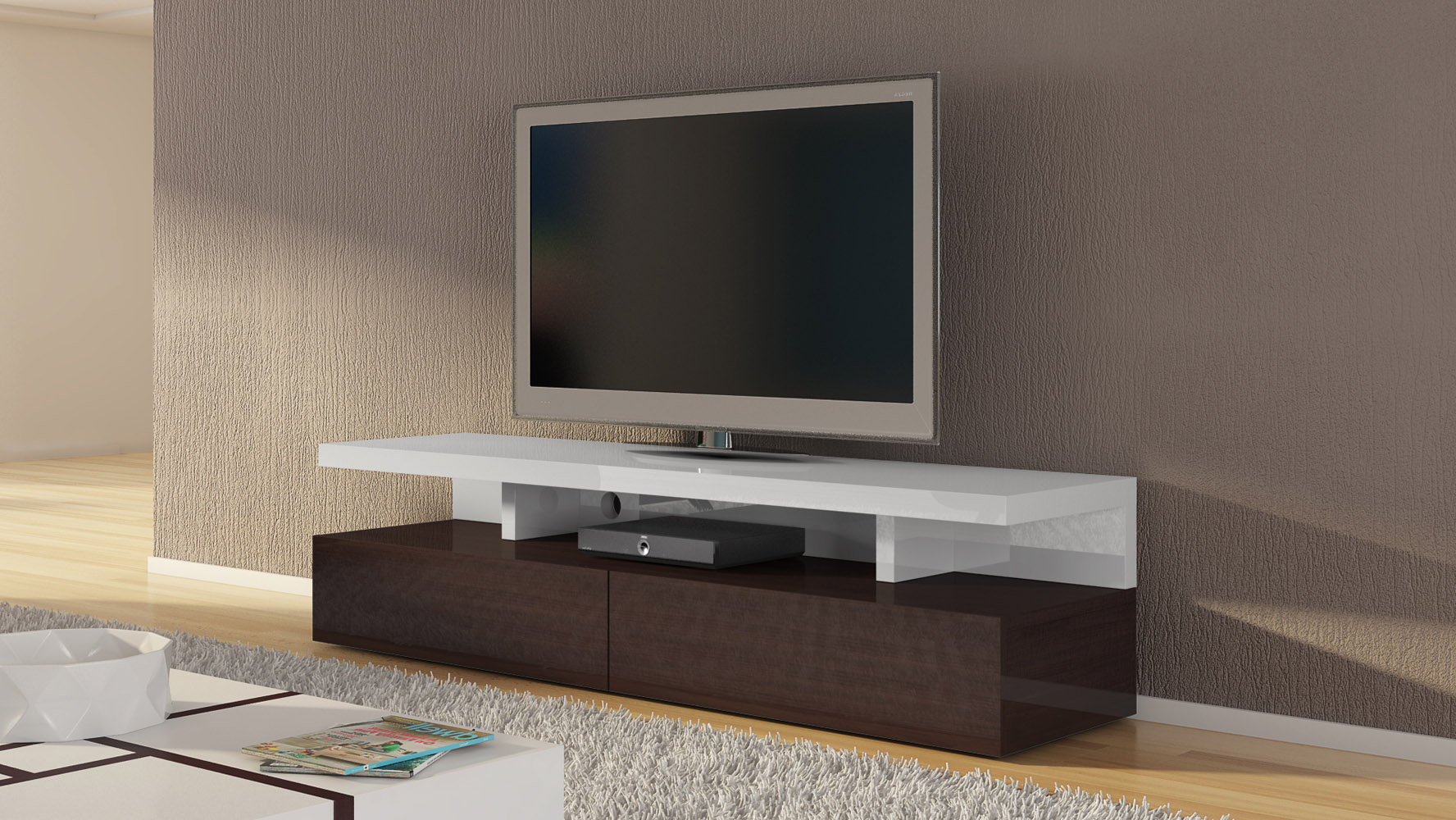 Tv Stands With 2 Open Shelves 2 Drawers High Gloss Tv Unis Regarding Well Liked Mcintosh 71 Inch Tv Stand In White High Gloss And Ebony (View 3 of 10)