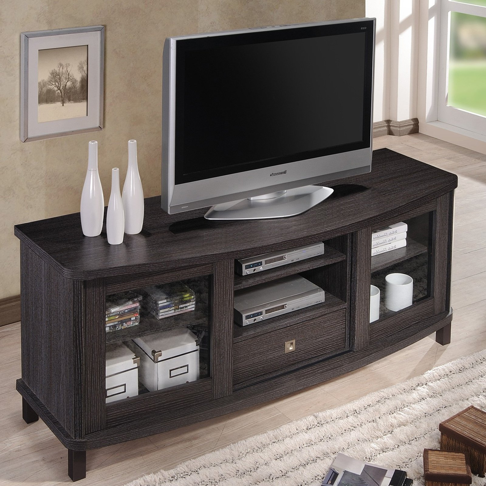 Tv Stands With Drawer And Cabinets Pertaining To 2018 Baxton Studio Walda 60 Inch Dark Brown Wood Tv Cabinet (View 1 of 10)