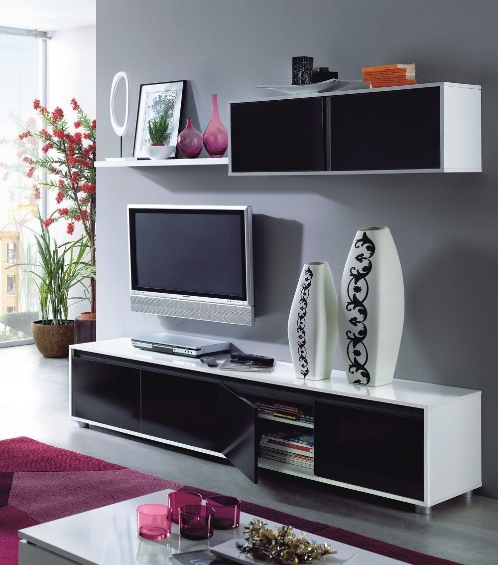 Tv Stands With Drawer And Cabinets Within Fashionable Home Est Lena Black White Gloss Living Room Tv Stand Wall (View 8 of 10)