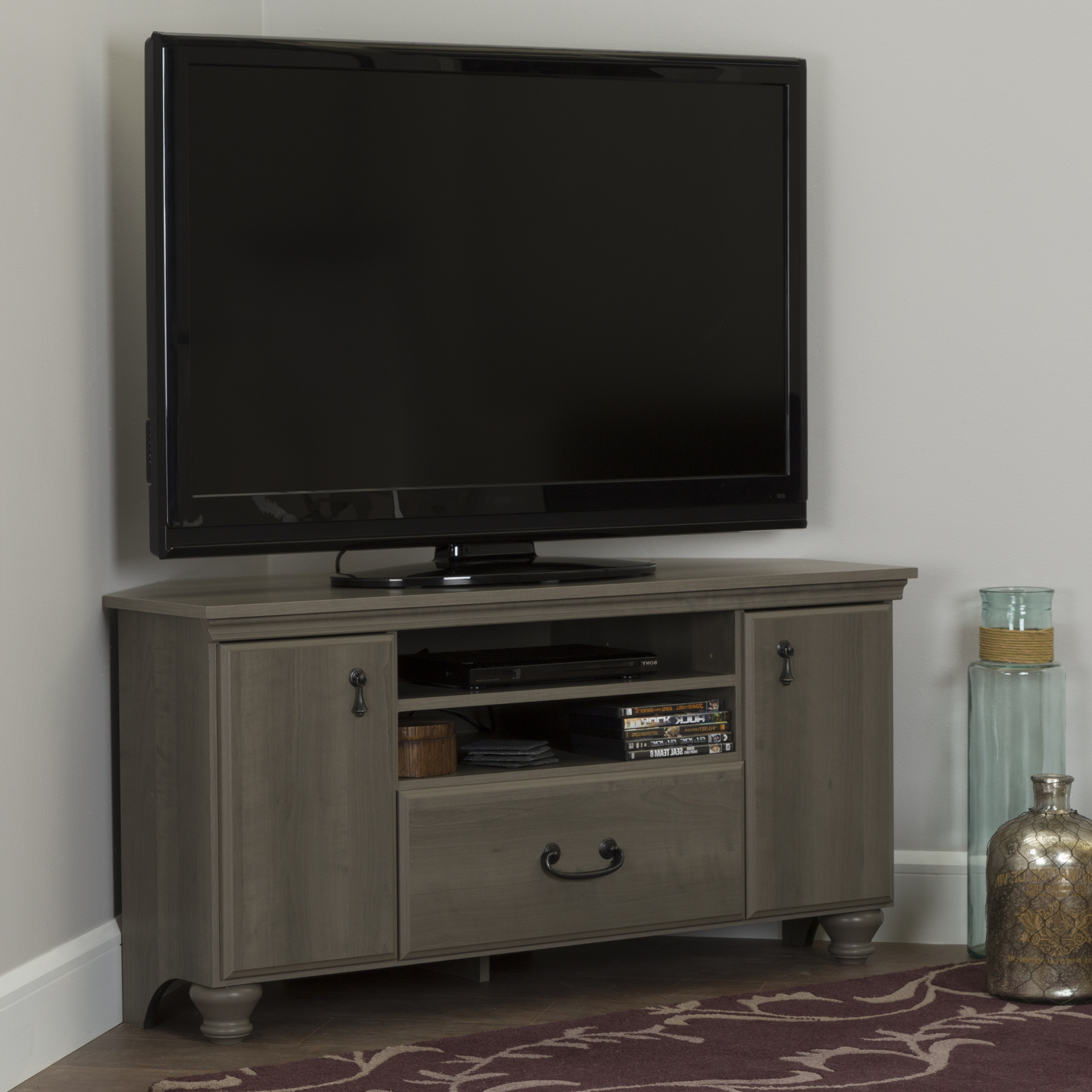 Tv Stands With Led Lights In Multiple Finishes Inside Favorite South Shore Noble Corner Tv Stand For Tvs Up To 55' In (View 8 of 10)