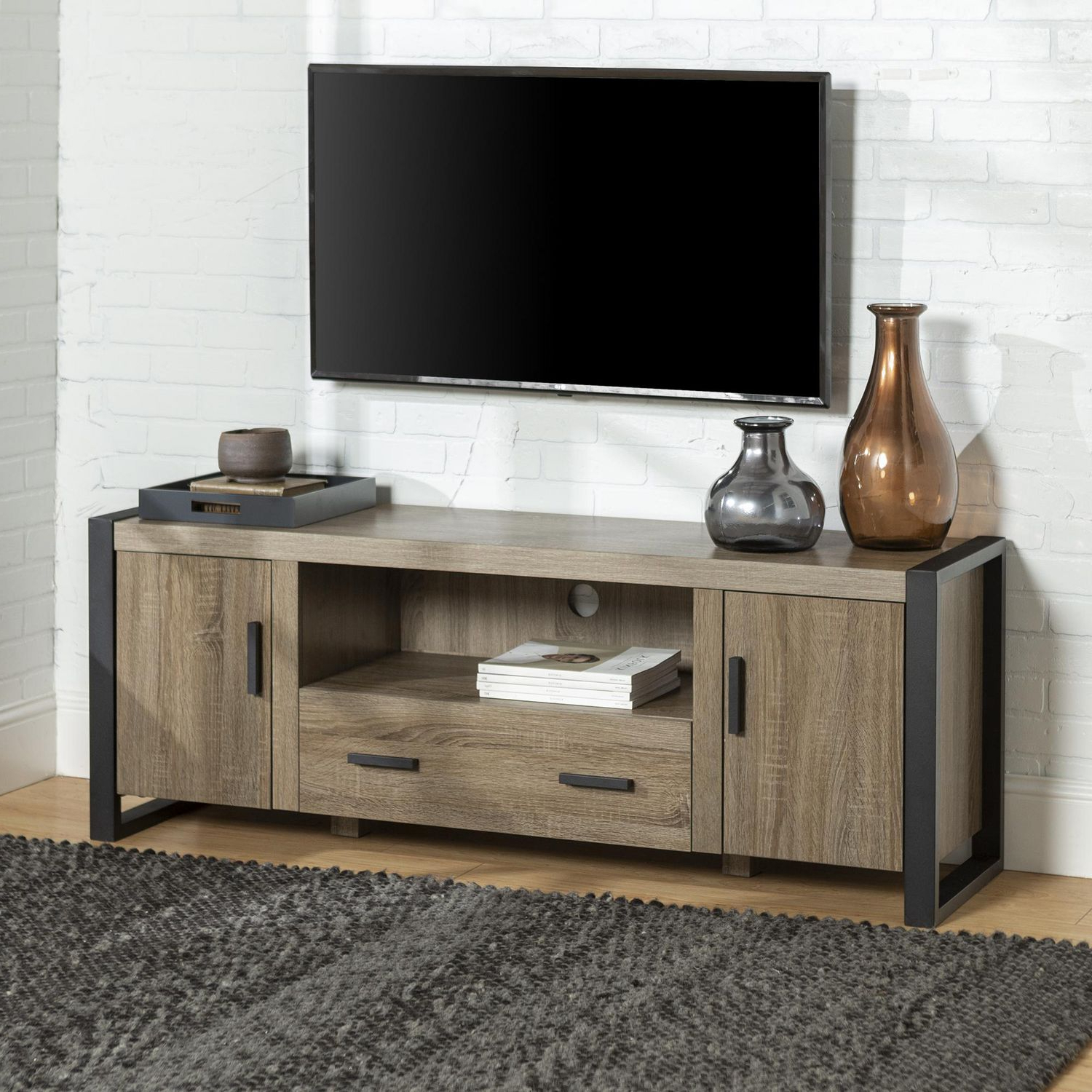 Tv Stands With Led Lights In Multiple Finishes Pertaining To Favorite Manor Park Modern Industrial Tv Stand – Multiple Finishes (View 4 of 10)