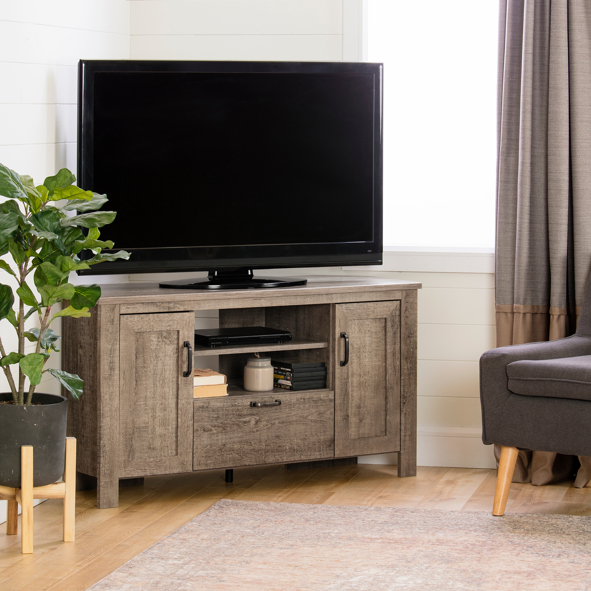 Tv Stands With Led Lights In Multiple Finishes Throughout Recent South Shore Lionel Corner Tv Stand, Multiple Finishes (View 5 of 10)
