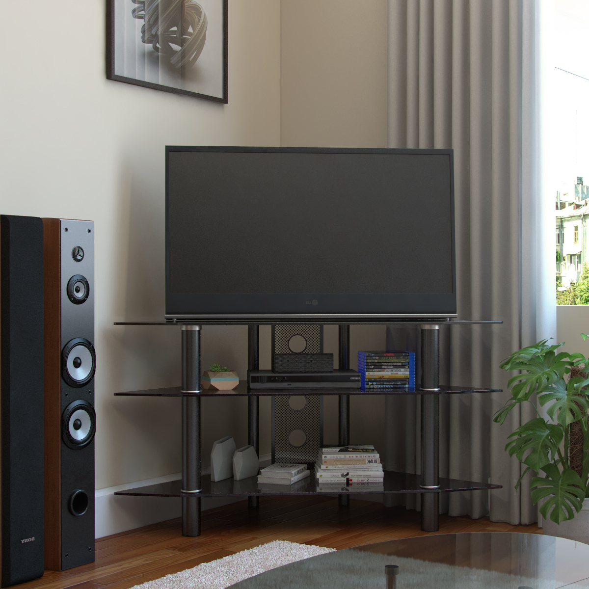 Tv Stands With Regard To Well Liked Ruby 44 Inch Corner Glass Tv Stand In Black With Cable (View 16 of 16)