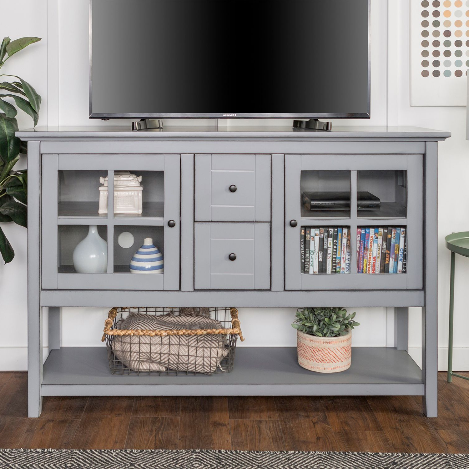 """Tv Stands With Table Storage Cabinet In Rustic Gray Wash For Favorite 52"""" Antique Gray Tv Stand & Buffet (View 5 of 10)"""