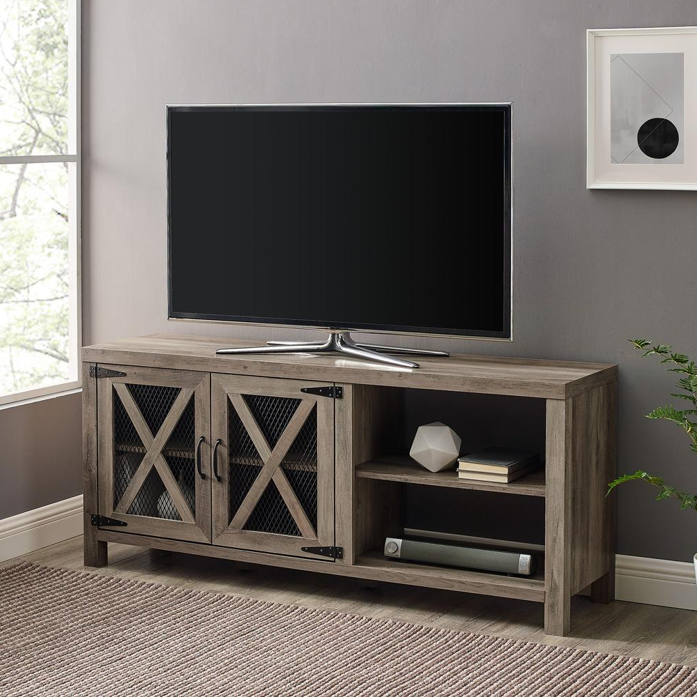 """Tv Stands With Table Storage Cabinet In Rustic Gray Wash Within Favorite 58"""" Industrial Farmhouse Tv Stand With Metal Mesh Doors (View 8 of 10)"""