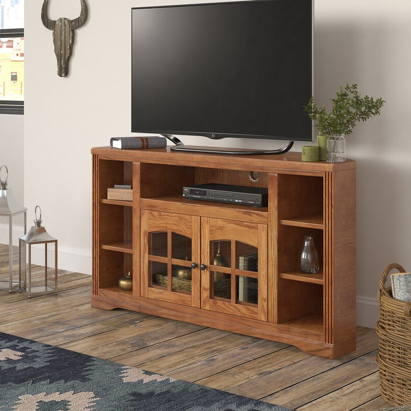 """Twila Tv Stands For Tvs Up To 55"""" Within Well Known Loon Peak® Glastonbury Solid Wood Corner Tv Stand For Tvs (View 9 of 25)"""