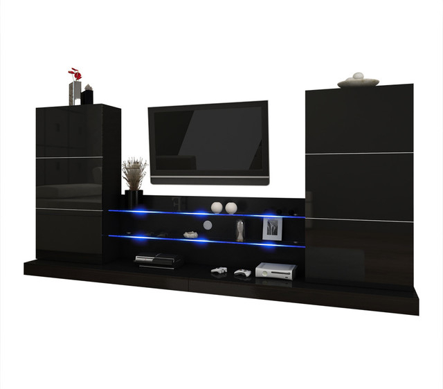 Ulm Modern Entertainment Center Wall Unit With Led Lights Pertaining To Most Recent 57'' Tv Stands With Led Lights Modern Entertainment Center (View 10 of 10)