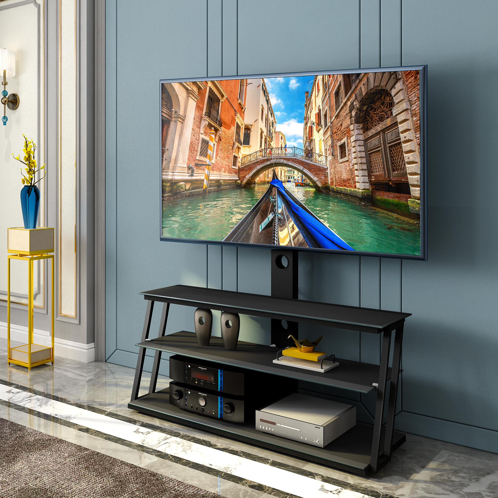 """Universal Tv Stand, Angle And Height Adjustable 3 Tier For Fashionable Paulina Tv Stands For Tvs Up To 32"""" (View 12 of 25)"""