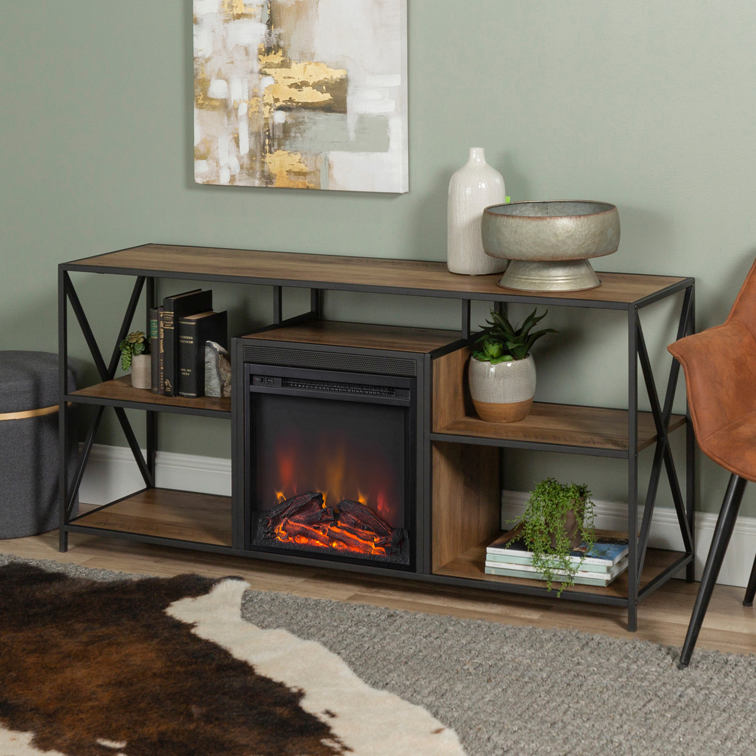 Urban Rustic Tv Stands Intended For Well Known Rustic Oak Tv Stand With Fireplace – Pier (View 4 of 10)